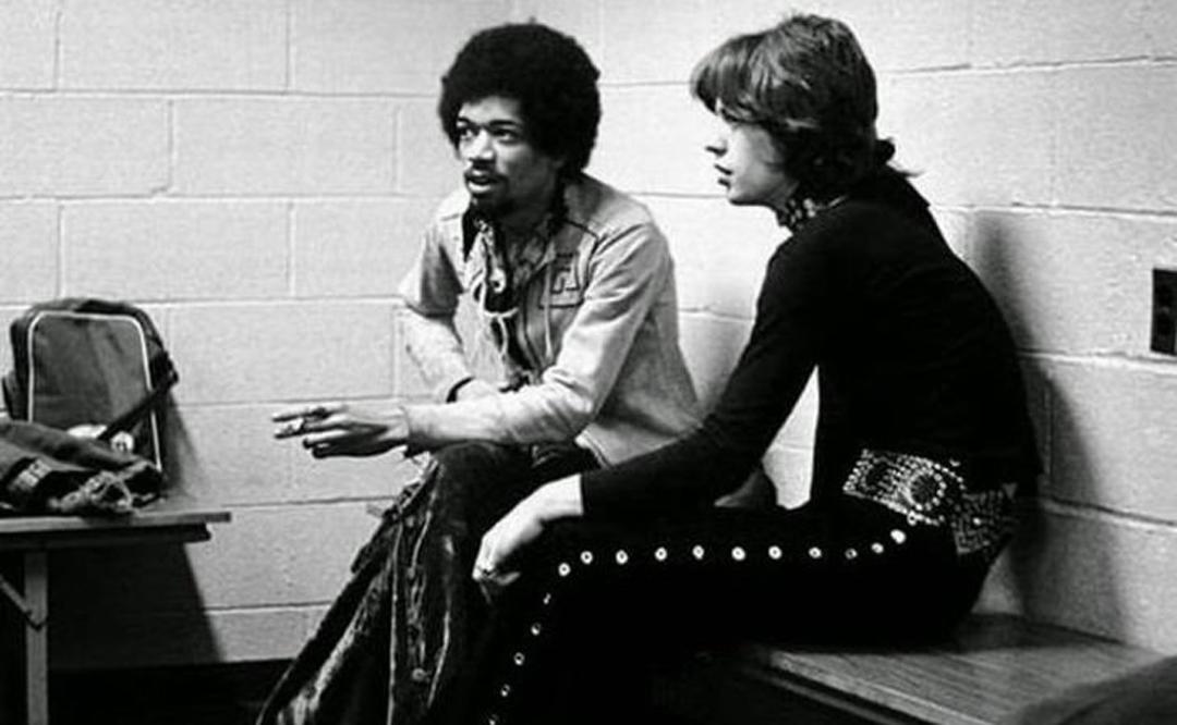 Jimi Hendrix y Mick Jagger en 1969.