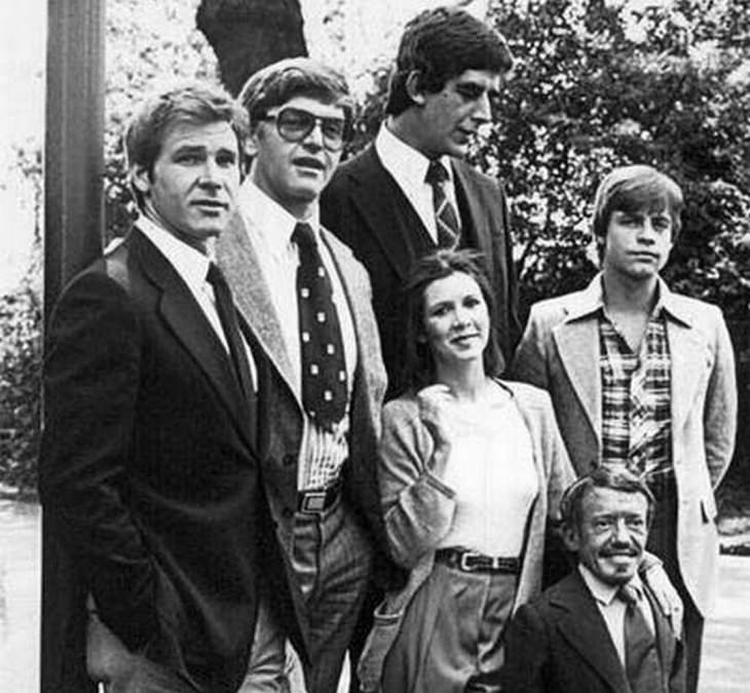 El elenco original de Star Wars visto justo antes de la filamación de la Guerra de las Galaxias.