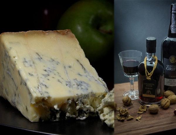 Queso azul y vino