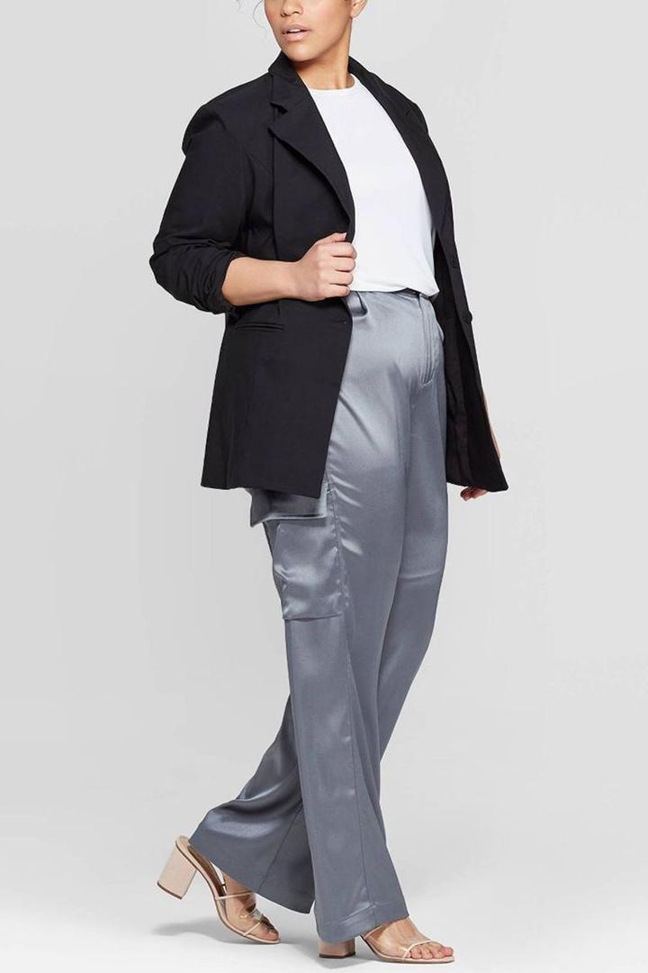 Pantalones cargo de satén de pierna ancha de tiro medio
