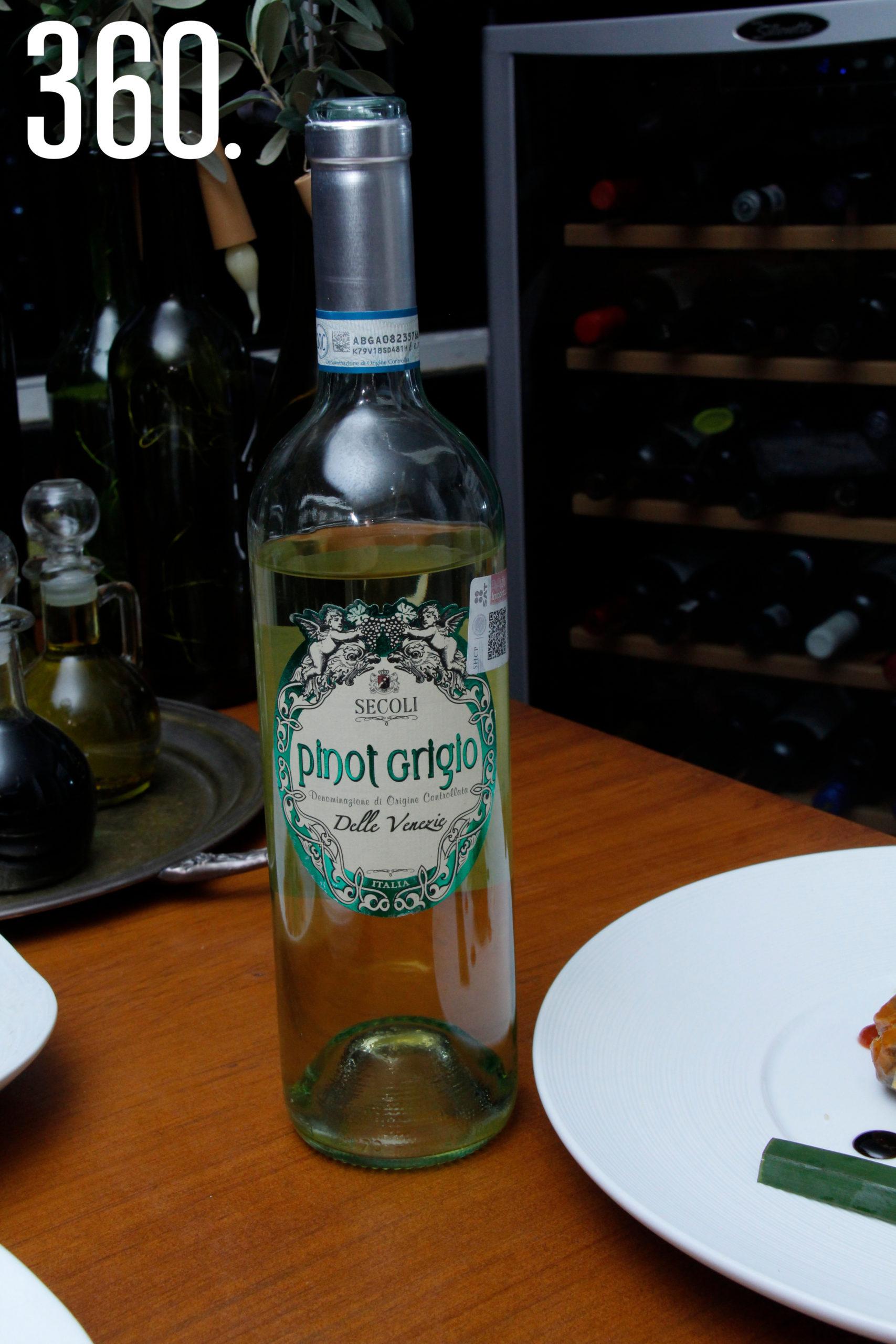 """Vino blanco """"Pinot Grigio"""", de la casa italiana Secoli."""