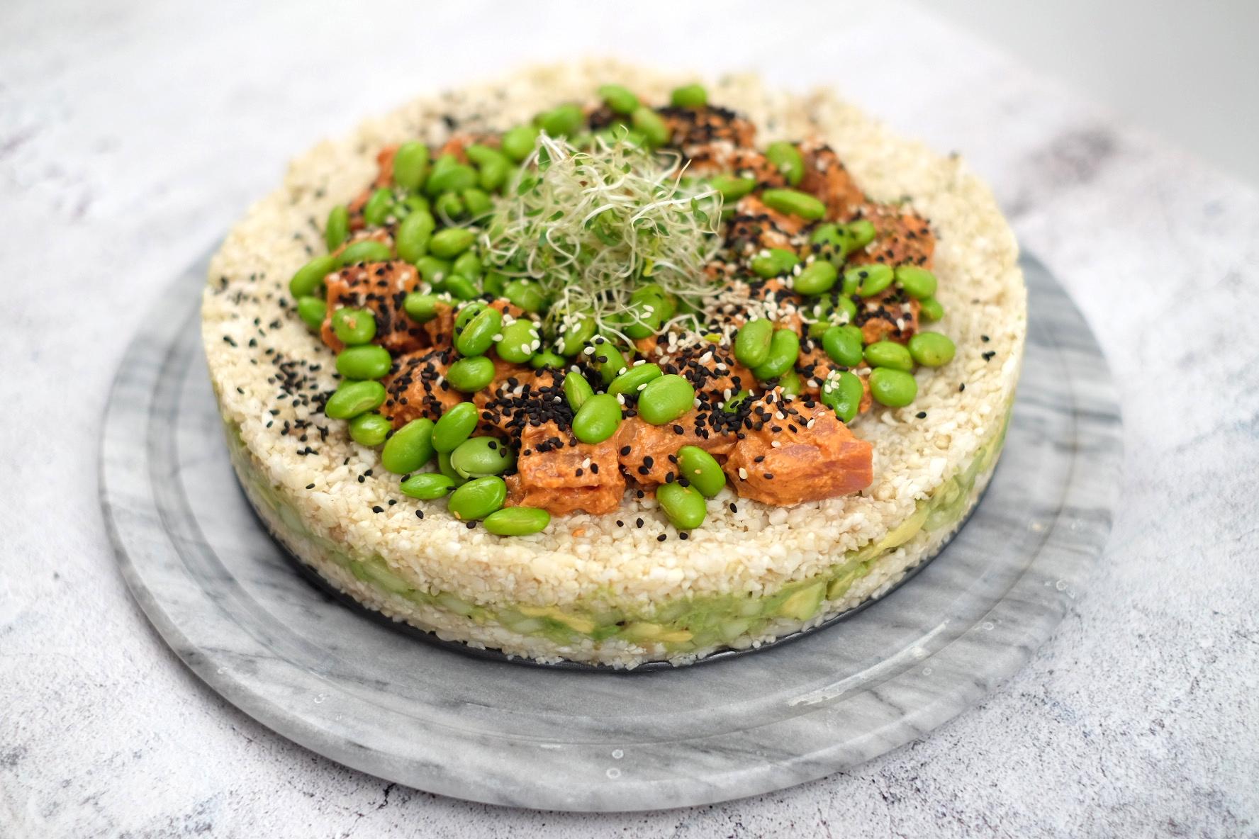 Tuna sushi cake.