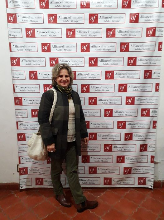 En un ciclo de cine francés en la Alianza Francesa de Saltillo, donde trabajó por 20 años, los dos últimos como directora.