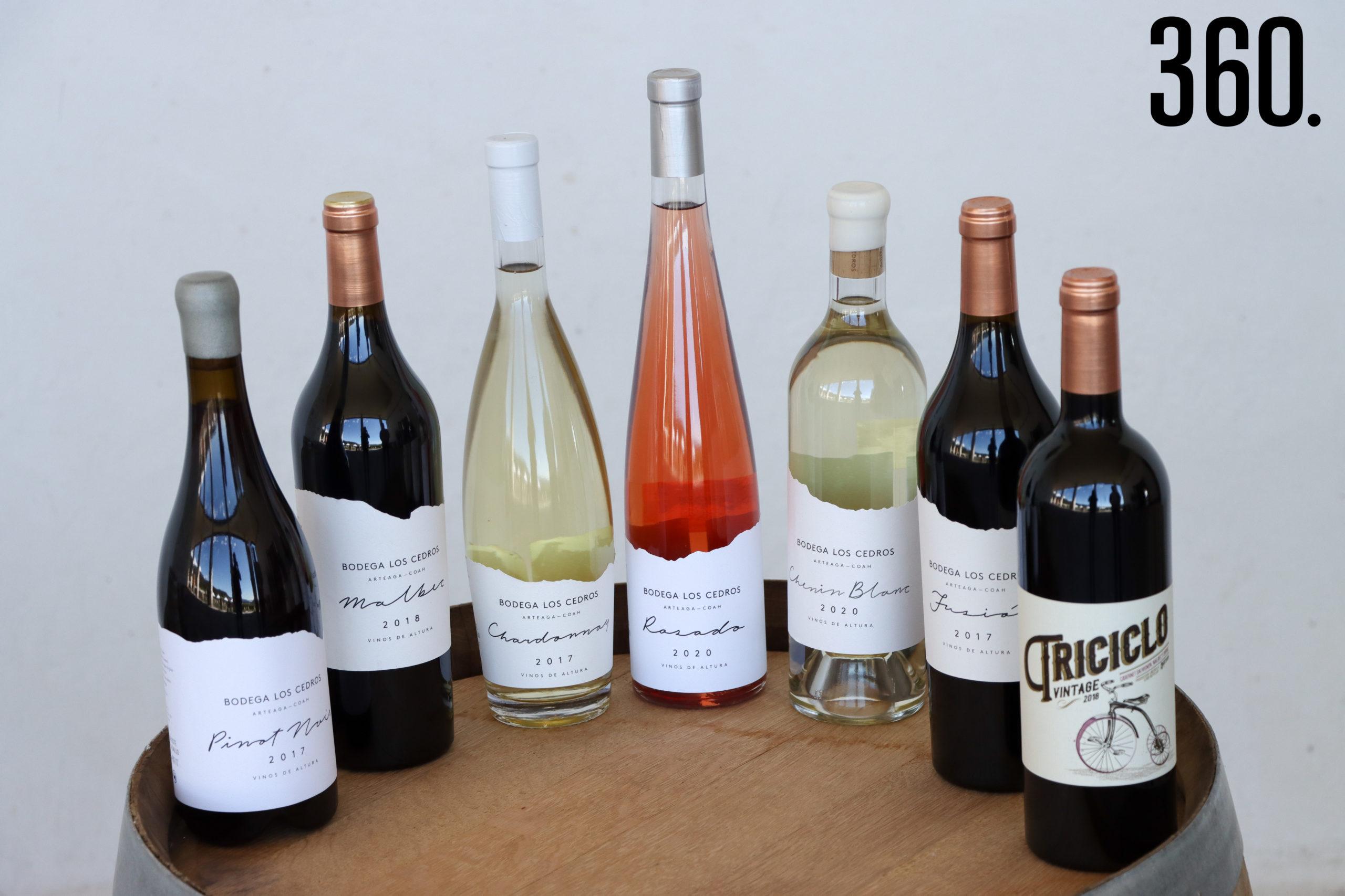 Variedad de vinos de bodega los Cedros.