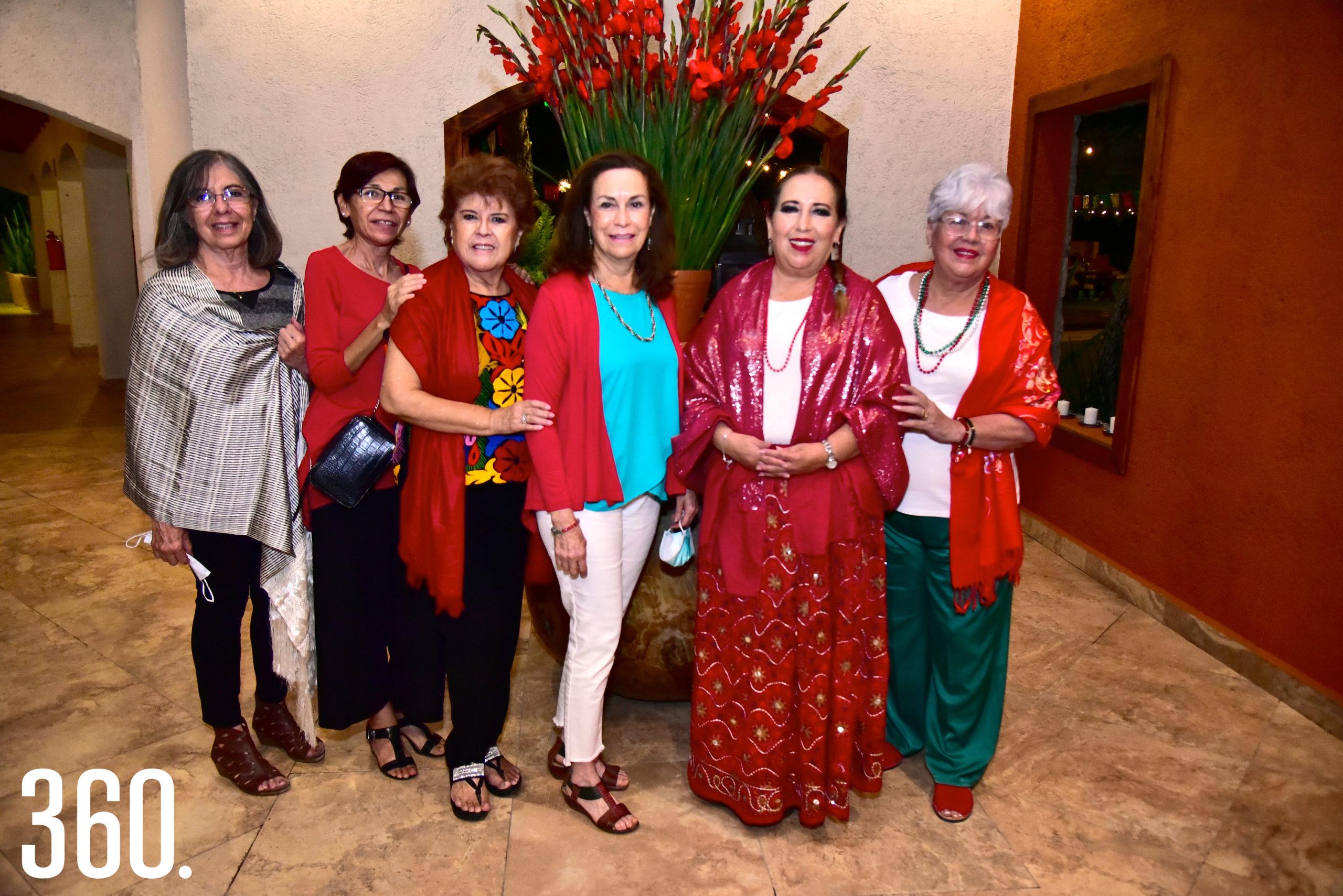 Patricia Morales, Palmira Guevara, Mari Jiménez, Cristina Sosa, Juanita Ramos y Minerva Gutiérrez.
